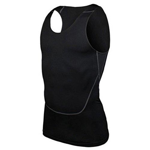 Moresave Mens compressione base del serbatoio di livello top senza maniche di allenamento di ginnastica Fitness Sportswear