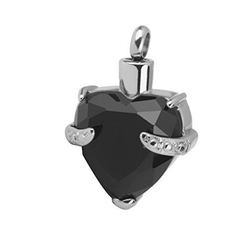 Pendentif de Collier en Strass Coeur Urne de Cendres Crémation Souvenir Noir
