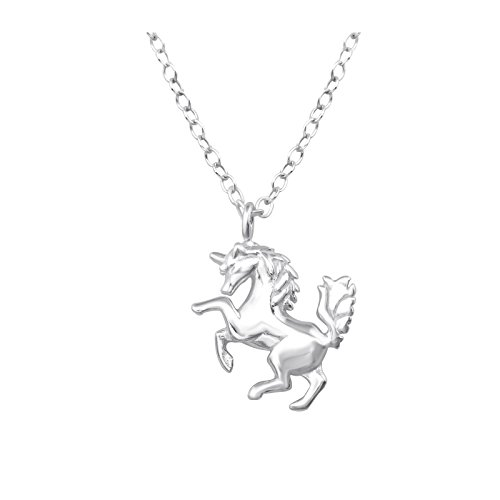 Laimons Colgantes con collar para mujer Unicornio Brillante Plata de ley 925