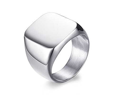 Vnox Men's Stainless Steel Blank Signet Band Ring Silver,Free Engraving UK Size R 1/2
