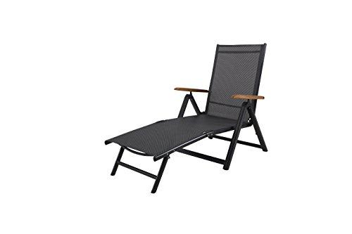 Ambientehome 50032 Aluminium Klappliege Sonnenliege Gartenliege Campingliege, Anthrazit