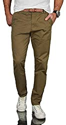 A. Salvarini Herren Designer Business Chino Hose Chinohose Regular Fit AS-095 [AS-095 - Olive - W29 L30]
