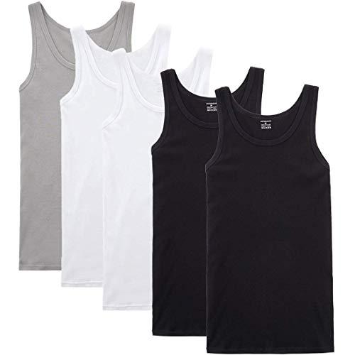 YOUCHAN Unterhemd Herren Tank Top 5er Pack Feinripp Muskelshirts Baumwolle alle Größen und Farben-Schwarz Weiß Grau-3XL