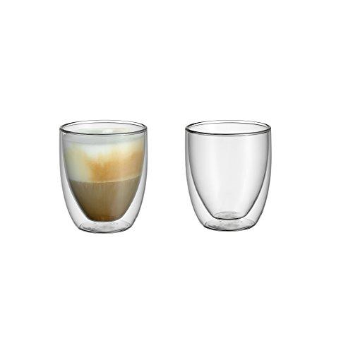 WMF Kult doppelwandige Cappuccinogläser-Set, Thermoglas, 2-teilig, hitzebeständig, spülmaschinengeeignet, V 250ml, H 10cm