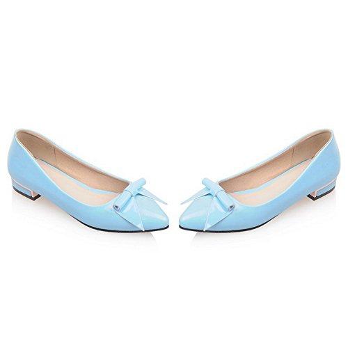 AllhqFashion Femme Pu Cuir Couleur Unie Tire Pointu à Talon Bas Chaussures Légeres Bleu