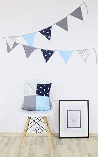 ULLENBOOM ® Patchwork Kissen 40x40 cm mit Füllung Blau Hellblau Grau (100% Baumwolle, ideal als Dekokissen, Kinderzimmer Zierkissen, Motiv: Sterne) -