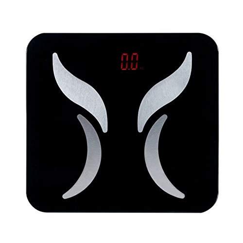 L&J Digitale Körperwaage,Smart Bluetooth Personen Körperwaage Körperanalysegerät Körperfettwaage Mit Hochpräzisions-Sensoren und Gehärtetem Sicherheitsglas Slim 150Kg Kapazität Schwarz