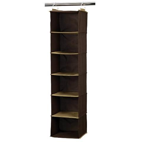 Household Essentials 6-Shelf Hanging Closet Organizer, Coffee Linen by Household Essentials