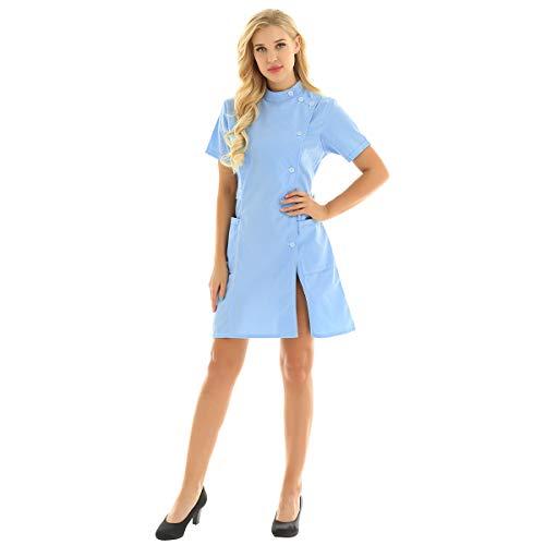 inhzoy Medizinische Uniformen Frauen Krankenschwester-Kleid Medizinische Arbeit Labor Kittel Arbeitskleidung Pflegerin Kostüm Cosplay Himmelblau Large - Wissenschaftler-kittel