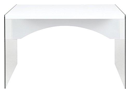 Cribel Pocket Scrivania, Legno Multistratro/Vetro Temperatro, Laccato Bianco, 120x80x76 cm