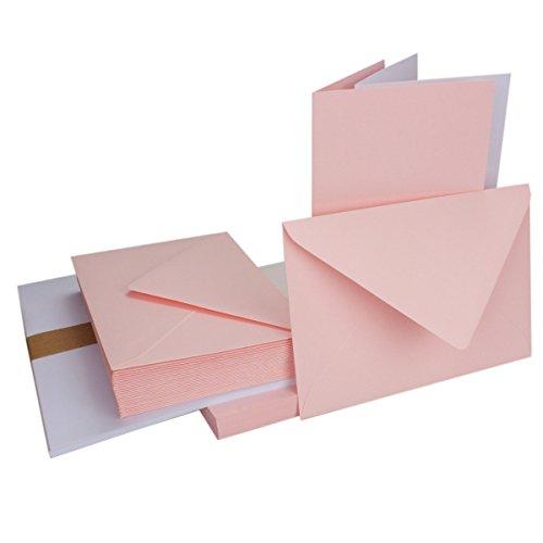Einladungskarten inklusive Briefumschläge & Einlegeblätter - 25er-Set - Blanko Klapp-Karten in Rosa - bedruckbare Post-Karten in DIN B6 Format - speziell zum Selbstgestalten & Kreieren