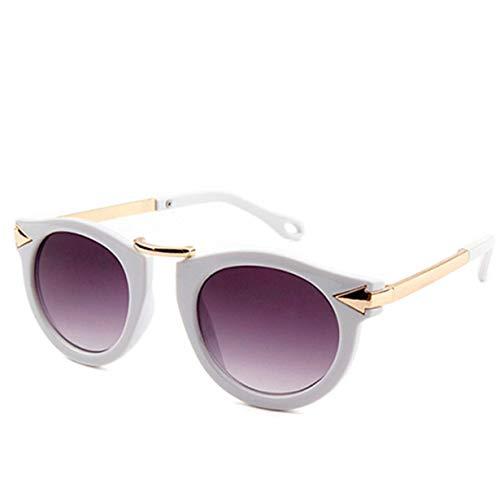 FEKETEUKI Vintage Retro Runde Baby Jungen Mädchen Kinder Leopard Sonnenbrille Shades Uv400 Kinder Sonnenbrille Goggle-White-1 Größe
