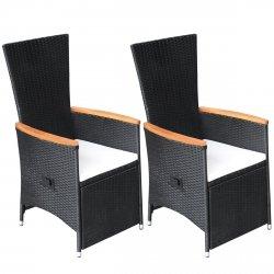 vidaXL 2x Gartenstühle Verstellbare Poly Rattan Akazienholz Outdoor-Sessel von vidaXL auf Gartenmöbel von Du und Dein Garten