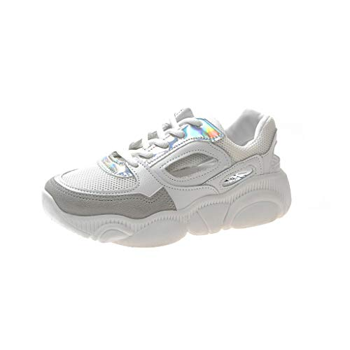 CUTUDE Damen Herren Sneaker Laufschuhen Kühlen Mesh Ultra-Leicht Sport Outdoor Schuhe Mit Schnürung Sneaker Mädchen Schuhe (Weiß, 35 EU)