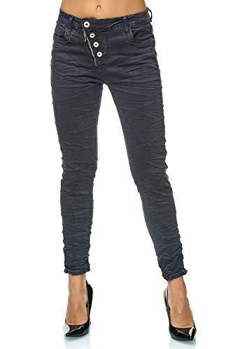 Elara Damen Jeans | High Waist Hose | lässig und bequem | Hose mit Reißverschluss und Knopfleiste | Chunkyrayan F6555-2 Dk.Grey-38 -
