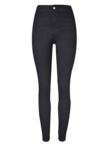 Choies Damen Skinny Jeans Jeggings Supersoft Denim Jeanshose Dunkelblau Schwarz Schwarz