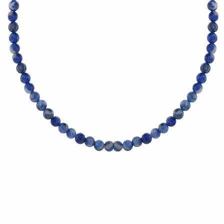 Sterling-Silber 925, 4 mm, echtes Soda Lite Stone Halskette Perlenkette 48.26 15 cm