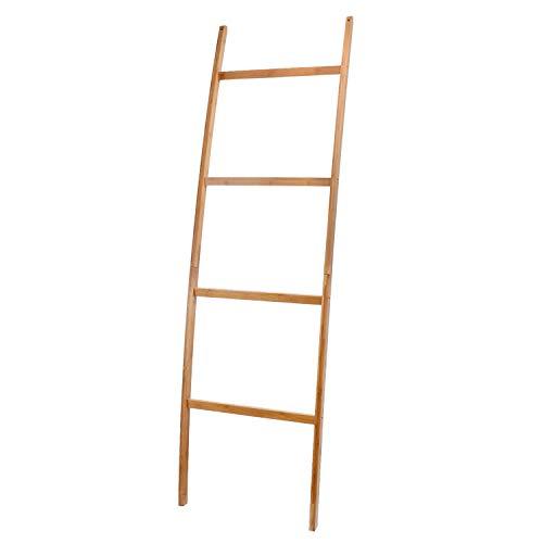 ZRI Bamboo Escalera-Toallero estante con 4barras, Super elegante perchero para cuarto de baño salón, bambú/natural marrón