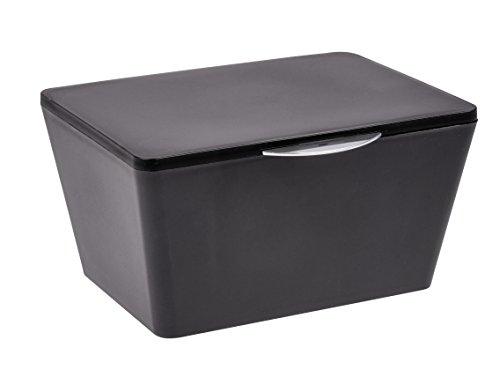 Wenko 22602100 Aufbewahrungsbox mit Deckel Brasil Aufbewahrungskorb, Badkorb mit Deckel, 15,5cm x 19cm x 10cm, schwarz (Deckel Schwarz)