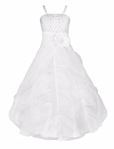 iEFiEL Girl's Flower Dresses Asymmetric Ruffle Organza Wedding Pageant Bridesmaid Dress White 4 Years