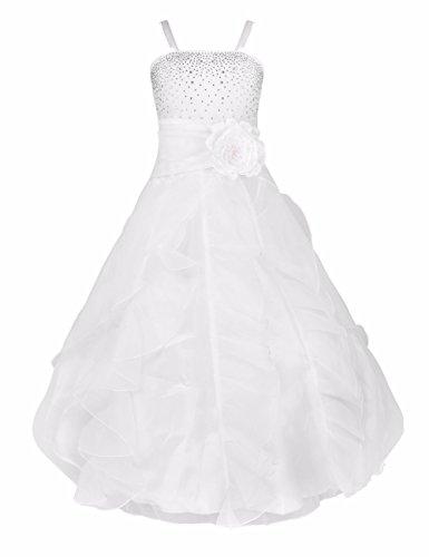 YiZYiF Blumenmädchen Kleid Kinder Mädchen Kleid Festlich Brautjungfer Hochzeit Partykleid Abendkleider Organza Festzug (Weiß, 10 Jahre)