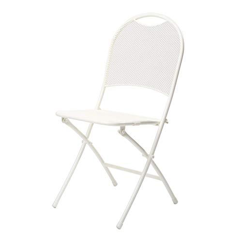 Moderne minimalistische Stimmung Falten Schmiedeeisen Tisch und Stühle Esszimmerstuhl Balkon Terrasse Gartenstuhl Klapptisch und Stuhl Kombination (Color : White) - Schmiedeeisen Terrasse