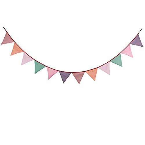 Cosanter Wimpel Girlande Baumwolle Dreieck Wimpelkette Flagge Wimpel Girlande für Weihnachten Hochzeit Geburtstag Drauße Dekor