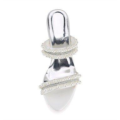 Best 4U® Da donna Scarpe Raso elasticizzato Estate Decolleté scarpe da sposa Basso Occhio di pernice Cristalli Perle per Matrimonio Serata e festa ivory