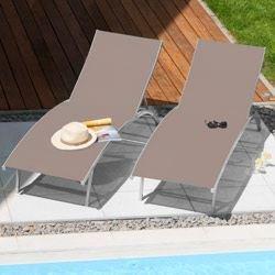 Inconnu Lot de 2 bains de soleil taupe