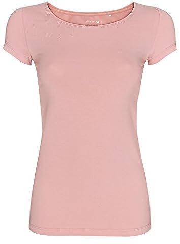 oodji Ultra Damen Tailliertes T-Shirt Basic, Rosa, DE 32 /