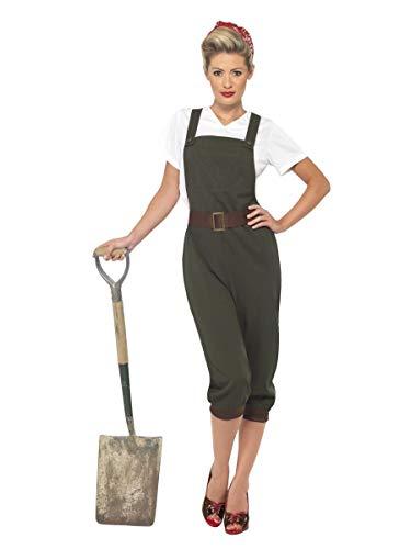 Fancy Me Damen 1940s Jahre 1. Weltkrieg WW2 Jahrzehnte Land Mädchen Weltkrieg Armee historisch Kostüm Kleid Outfit UK 8-26 Übergröße - Grün, UK ()