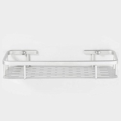 Duschregal, rechteckig, Chrom, Duschregal aus Aluminium, Dusch-Organizer zur Wandmontage für Badezimmer, Küche, Single-deck No Hooks, 1 tier -