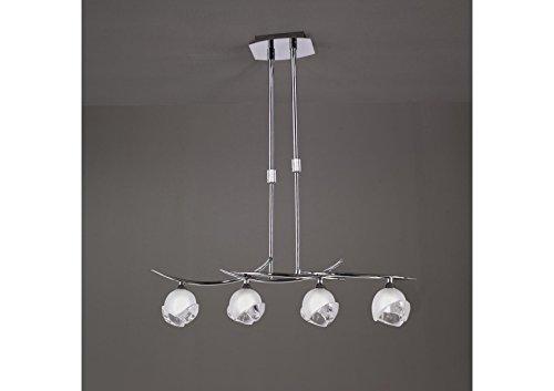 Suspension téléscopique design BALI CROMO 4L - ampoule G9 osram - mantra