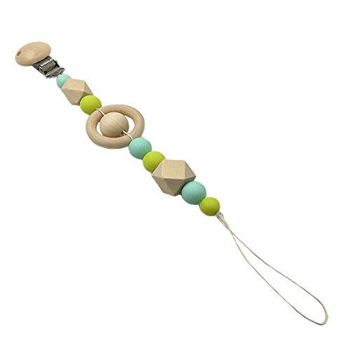 Schnuller-halter Universelle (INCHANT Holz Infant Pacifier Clip-Halter, ungiftige Nippel-Bügel-Ketten für Unisex Baby, Holz Zahnen Perlen Clip Beißring Spielzeug-Geschenks für Baby-kauen)
