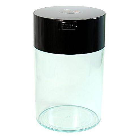 Tightvac Coffeevac 1 Pound Vacuum Sealed Storage Container, Clear Body/Black