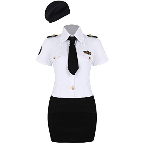 dPois Damen Polizei Polizistin Kostüm Set Kurzärmeliges Hemd Minirock Krawatte Hut Uniform Cosplay Outfits für Mottoparty Halloween Fasching Weiß+Schwarz X-Large