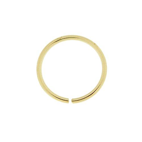 14K Gelb Gold 22-g - 6MM Durchmesser nahtlose kontinuierliche offene Hoop Nasenring Nase Piercing
