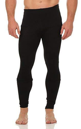 A&LE Fashion Herren Thermo Unterhose Leggings Pants mit Innenfleece warme Unterwäsche CL 2020 (S/M, Black / 2 Stück)