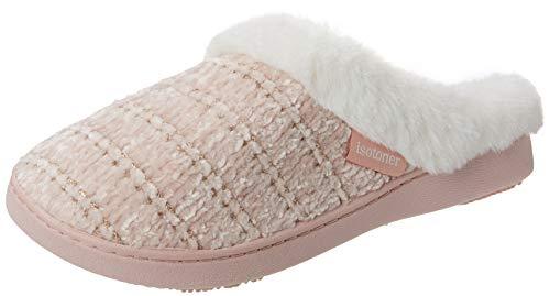 Isotoner Chenille Mule Fur Cuff Slippers