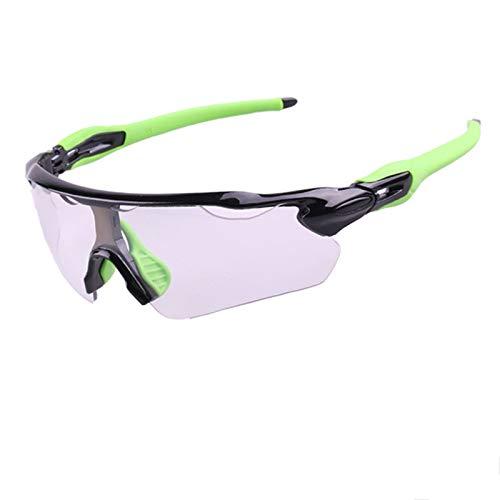 KnBoB Brille Fahrrad Fahrradbrille Antibeschlag Fahrradbrillen Für Herren Selbsttönend Schwarz Grün