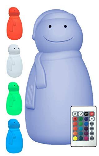 LED Deko-Figur Schneemann mit Fernbedienung, für Innen & Außen, Netz- oder Akkubetrieb, Dimmfunktion, 16 festeinstellbare Farben oder Farbwechsel, kaltweiß, warmweiß, Weihnachts-Winter-Deko -