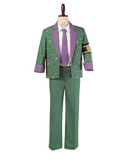 MingoTor Superheld Anzug Outfit Cosplay Kostüm Herren - Riddler Grün Anzug Kostüm