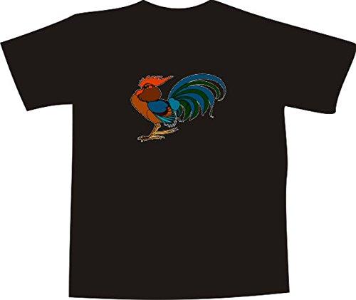 T-Shirt E658 Schönes T-Shirt mit farbigem Brustaufdruck - Logo / Grafik - Comic Design - wunderschöner großer Hahn mit buntem Gefieder Mehrfarbig