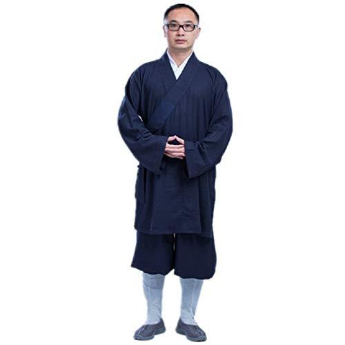 JTIH® Mönch Buddhismus Kleidung Kleidung Meditation Buddha Baumwolle und Leinen Luohan Mantel Kurz Mönch Kleider Mönch (beinhaltet nur Jacke) (1,XL) -