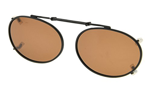 Eyekepper Metall runde Rahmen Felge polarisierte Linse Clip auf Sonnenbrille 49x30mm Braun Linse