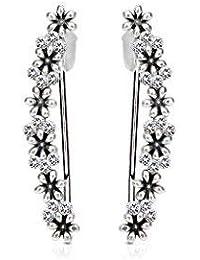 Tapsi´s Coolbodyart®| Ohr Klemme Manschette Rhodium Kristall,Blume Silber Schwarz