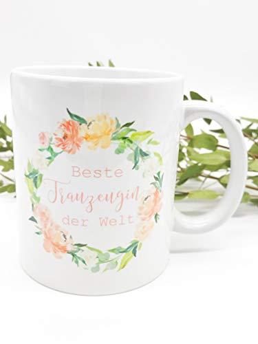 Great Stuff Tasse Hochzeit Beste Trauzeugin der Welt bunt Blumenkranz Maid of Honor Blüten Beste Freundin BFF Geschenk Idee Hochzeit