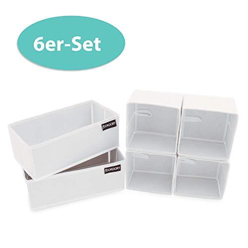 ORDORY Premium Aufbewahrungsbox 6er-Set - hochwertige Faltbare Stoffbox – der perfekte Organizer für die ganze Familie