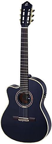 Ortega RCE138-4BK-L Konzertgitarre in 4/4 Größe Linkshänder Cutaway elektrifiziert schlanker 48mm Hals schwarz im hochglanz Finish mit hochwertigem Gigbag und Gurt