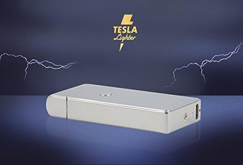 Tesla-Lighter T09 Lichtbogen Feuerzeug USB Feuerzeug Arc Lighter elektronisches Feuerzeug wiederaufladbar Silber -